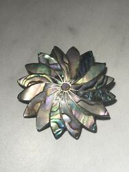 AR Marked Vintage Sterling Silver Abalone Shell Pendant