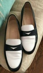 BARNEYS NEW YORK Women Shoes Black & White Leather  Loafers Shoes 6 $49.99