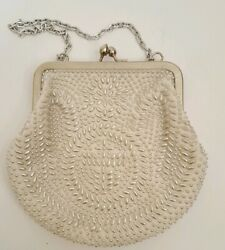 Vintage Made In Hong Kong White Beaded Purse Chain Strap 5 x 6quot; Stein Novelty $9.99