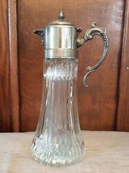 Vintage Silverplate Crystal Glass Hinged Top Pitcher Decanter w Ice Insert NICE