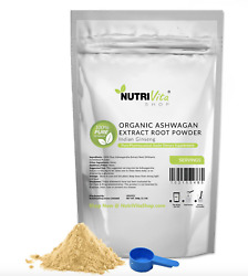 100% Pure Organic Ashwagandha Root Powder Withania Indian Ginseng USA NVS nonGMO $11.95