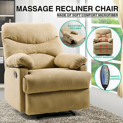 Beige Microfiber Massage Recliner Chair Heated Vibrating Lounge Sofa WControl