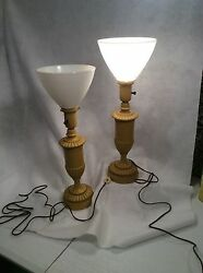 deco vintage lamps pair with thick glass shades $95.95