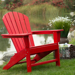 Outdoor Patio Furniture Seating Garden Adirondack Chair in Red Heavy Duty Resin