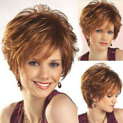 Stylish Women Vogue Ombre Short Wigs Mixed Brown Blonde Full Curly Wavy Wigs