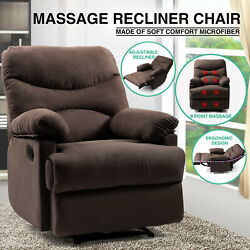 Brown Massage Heated Recliner Chair Lounge Sofa Microfiber Ergonomic wControl