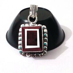 925 Sterling Silver Exclusive 10.60 Gm. Ruby Precious Gemstone Jewelry Pendant