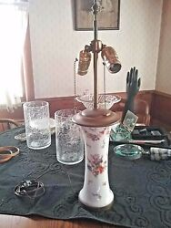 Porcelain Lamp Antique Victorian Styled Hand Painted w Colorful Flowers $74.00