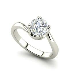 Twist Solitaire 2.25 Carat VS1F Round Cut Diamond Engagement Ring White Gold
