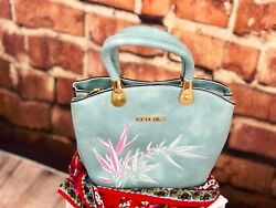 Handbag Embroidery Flower Bag Nature Style Solid Color Blue $29.95