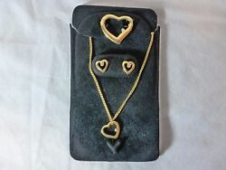 Heart Necklace  w Earrings & Pin in Gold FREE SHIPPING US