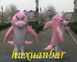 Pink Dolphin Mascot Costume Fancy Dress Animal Adult Outfit Animal Cosplay Suits