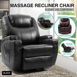 Full Body Massage Recliner Chair Leather Vibrating Heat Lounge 360° Swivel Black