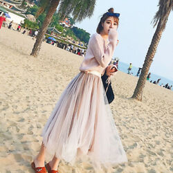 Lady Sweater amp; Skirt Sets V Neck Loose Beach Pleated Fairy Tulle Dress Pink Cute $27.83