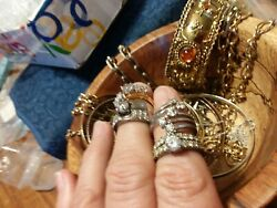 Mixed vintage jewelry lot☆Some signed☆Monet 925 Italy☆Fashion rings☆Bracelets