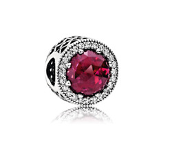 💎Pandora Charms Beads Crystal Radiant Hearts Silver 925 RED
