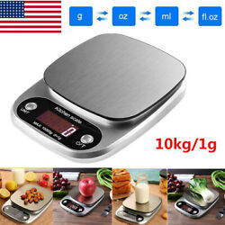22lb 10Kg1g Accurate Digital Kitchen Food Scale Gram Electronic Stainless Steel