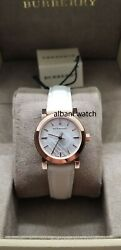 BURBERRY BU9209 Rose Gold Tone White Leather Women's Watch $139.00