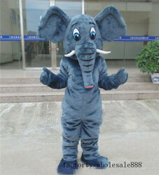 Elephant Mascot Costume Dress Halloween Outfit Adult Cosplay Birthday Party Suit
