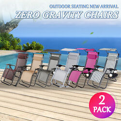 Case of 2 Zero Gravity Chairs Patio Recliner Folding Sun Lounger WCanopy+Holder