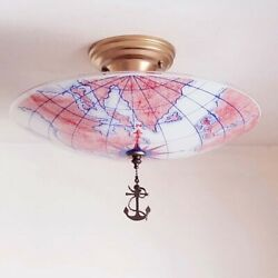 991 Vintage Nautical Glass Ceiling Light Lamp Fixture chandelier antique $295.00