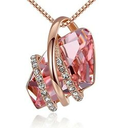 Women's Rose Gold Pendant Necklace High Quality Crystal 18 WIFE GIRLFRIEND GIFTS