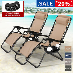Set of 2 Adjustable Zero Gravity Chair Patio Folding Recliner wCup+Phone Holder