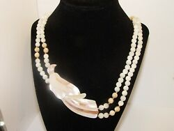 Exotic Bird Necklace signed Lee Sands genuine mother of pearl beads and inlay