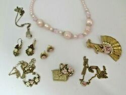 Pink Roses 1928 Brand JEWELRY LOT Victorian Repro Signed Necklaces Earrings Pin