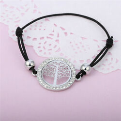 Tree of Life Round Charm SIlver Bracelet For Women Elastic Black Rope CZ Crystal
