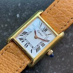 CARTIER 18K Gold-Electroplated Ladies Tank Louis 7291 Hand-Wound c.1950s LV723