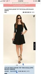 LULUS EXCLUSIVE TIP THE SCALLOPS BLACK COCKTAIL DRESS SIZE X SMALL $29.99