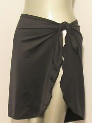 BLACK FULL SARONG PAREO ONE SIZE BEACH COVERUP SWIM SKIRT SHORT WRAP MADE IN USA $18.00