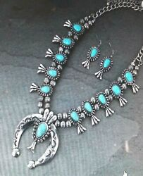 gorgeous enhanced turquoise stones squash blossom necklace & earrings NEW Style