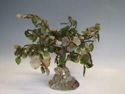 ANTIQUE CHINESE JADE TREE with GLASS BASE OPALESCENT GLASS WIRE TREE TRUNK