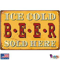 Ice Cold Beer Sold Here Retro Signs amp; Plaques $14.95