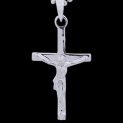 Classic Crucifix Pendant Necklace Genuine Solid 925 Sterling Silver NEW