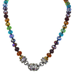 Kirks Folly Rainbow Memories Beaded Magnetic Interchangeable Necklace Silvertone