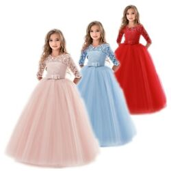 Flower Girls Princess Dress Kids Party Wedding Lace Long Tutu Dresses 12 14T $16.83
