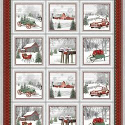 Holiday Homestead Cotton Quilt Fabric Repeating Block Panel 1612-89  Henry Glass
