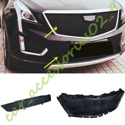2PCS Black Improved Front Grille + Bottom Grill fit for Cadillac XT5 2016-18