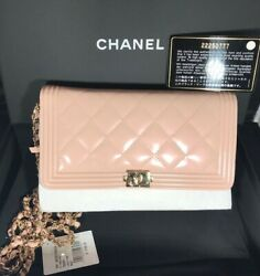 100%AUTH BNWT CHANEL METALLIC PINK BOY PATENT LEATHER WALLET ON CHAIN CC WOC BAG