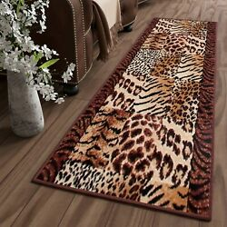 Runners for Hallway Beautiful Brown Animal Skin Pattern Trendy Cheap Collection