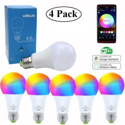 4 Pack Smart Phone Color Light Bulb WiFi for Amazon AlexaGoogle Home Music Sync
