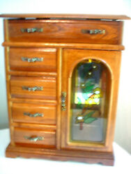 Wood Jewelry Box 4 Drawer Floral Design Stained Glass Door Necklace Carousel