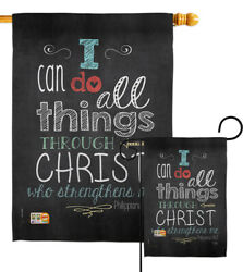 All Things Through Christ Expression God Bible Strengthen Garden House Yard Flag $14.35