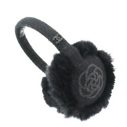 CHANEL Camelia Earmuffs Tweed Rabbit Fur Black 90073665