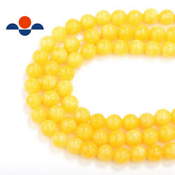 Nice Smooth Yellow Dyed Jade Gemstone Round Beads Approx 15.5''per Strand.