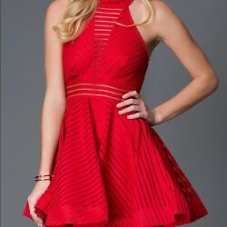 Luzzel Large Red Women#x27;s Halter Dress Holiday Party Cocktail Large $25.00