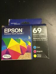 New 3-PACK Epson GENUINE 69 Color Ink { Cyan Magenta Yellow #2296 $38.88